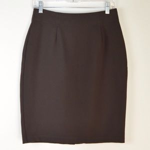 Eileen Fisher Brown Stretch Pencil Skirt | Small